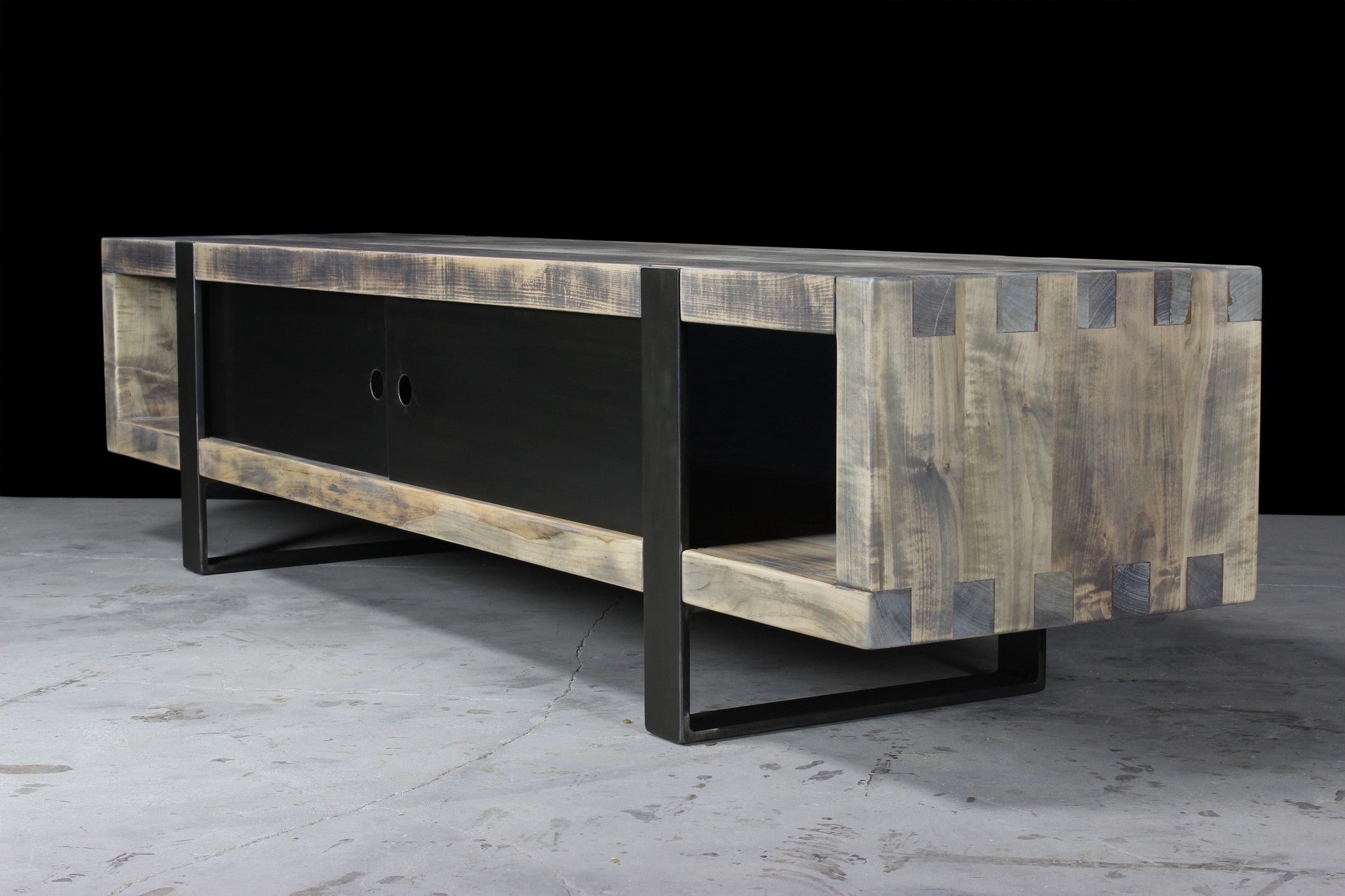 7' media console | worn maple wood finish with darkened steel