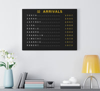 List your children and grandchildren on a custom arrivals board canvas