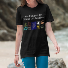 Load image into Gallery viewer, Passport stamp collection tee in black - among one of our best gifts for travel lovers