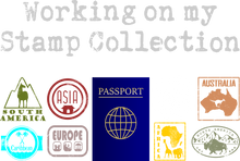 Load image into Gallery viewer, Close up of the graphic and all stamps - a great gift for people who love to travel