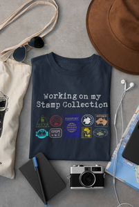 Passport Stamp Collection Tee in Navy blue  - one of our top gifts for travel lovers