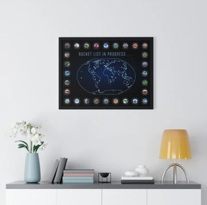 Bucket List In Progress with Coordinates World Map Print