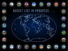Load image into Gallery viewer, Bucket List In Progress with Coordinates World Map Print