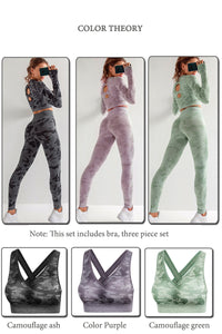 Set 3 PCS Camouflage Seamless Yoga Suit