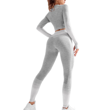 Load image into Gallery viewer, Seamless Women Yoga Set Long Sleeve Top High
