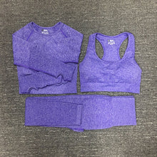 Load image into Gallery viewer, 3 pcs Seamless Yoga set Breathable