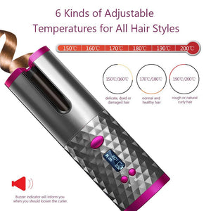 Cordless Automatic Hair Curler USB Rechargeable