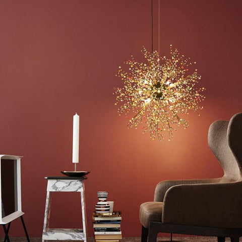 Image of Pearl Tree Branches With Bulbs - Creative Sphere Glass Lighting Fixture