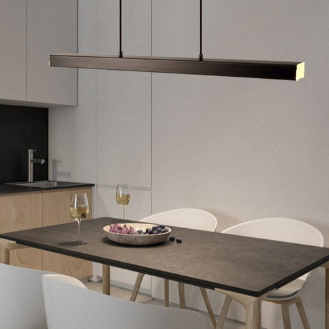 "Image of Modern Wood 31 1/2"" to 59"" Aluminium Polished Pendant Chandelier"