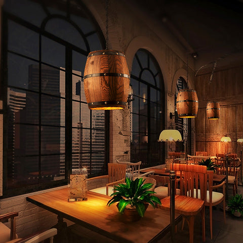 Erato - Hanging Wooden Wine Barrel Light