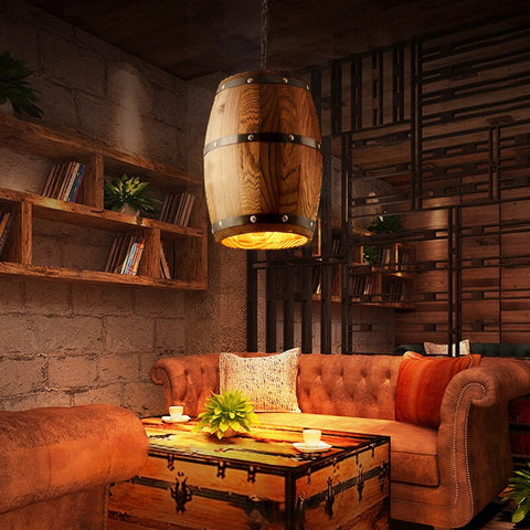 Image of Erato - Hanging Wooden Wine Barrel Light