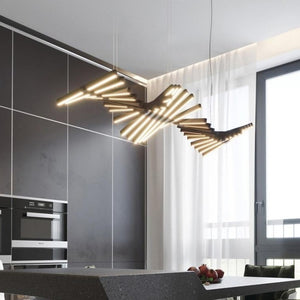 Modern LED Chandelier Lighting - Black/White Office Pendant