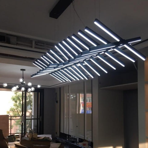 Image of Modern LED Chandelier Lighting - Black/White Office Pendant