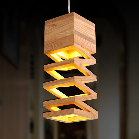 "Image of Oak Wood 10 1/2"" Wide Square Falling Wooden Pendant Lamp"
