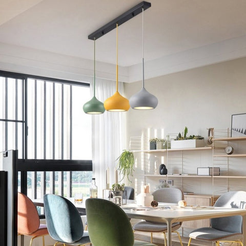 Image of Colourful Dome Shaped Lampshade LED Pendant Lights