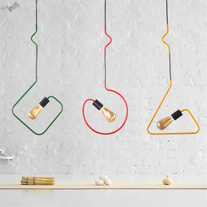 Colorful Modern Pendant Light - Twisted Wire Shapes