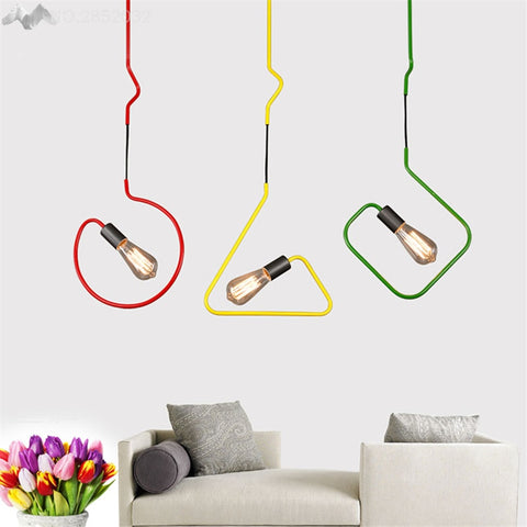 Image of Colorful Modern Pendant Light - Twisted Wire Shapes
