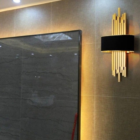 Image of Metal Gold Pipe Led Wall Lamp