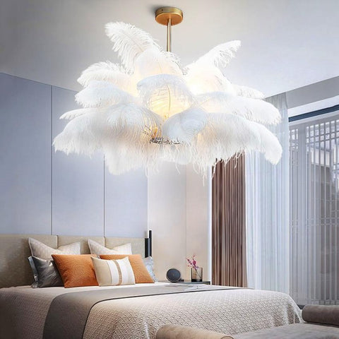 Image of Multi-Feather Chandelier Light
