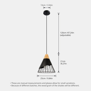 Wooden Base Iron Cage Hanging Nordic Lamp