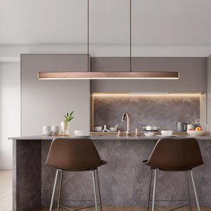 "Modern Wood 31 1/2"" to 59"" Aluminium Polished Pendant Chandelier"
