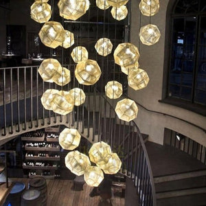 Geometric Globe Metal Mesh Gold Silver Industrial Pendant Light