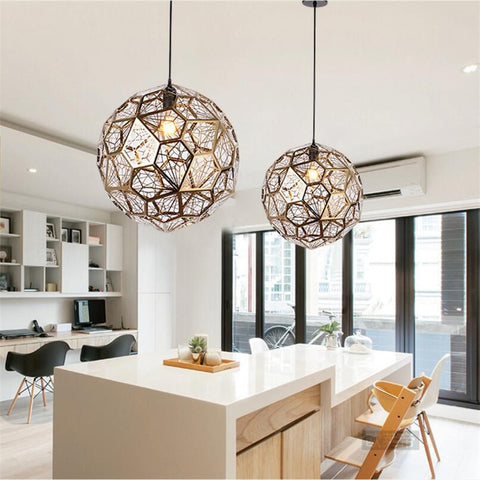 Image of Modern Stainless Steel Diamond Ball Pendant Lights