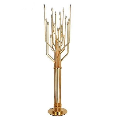 Image of Gold-Colored Modern Tree Lamp - Decorative Floor Lamp, Stainless Steel