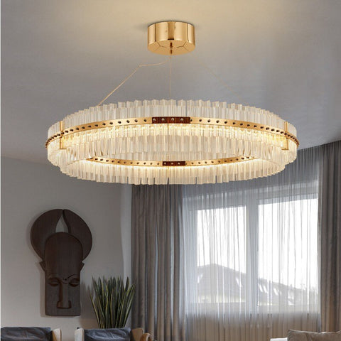 Image of Round Glass Chandelier - Modern Style Living Room Lighting