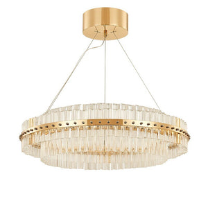 Round Glass Chandelier - Modern Style Living Room Lighting