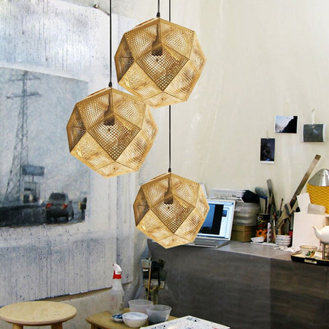 Image of Geometric Globe Metal Mesh Gold Silver Industrial Pendant Light