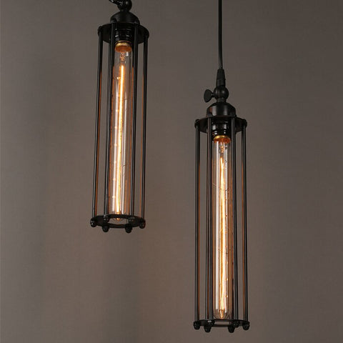 Image of Vintage Country Style Pendant Light - Iron Cage Droplight
