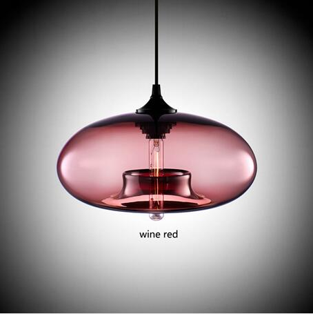 Image of Contemporary Hanging 6 Color Glass Pendant Lights