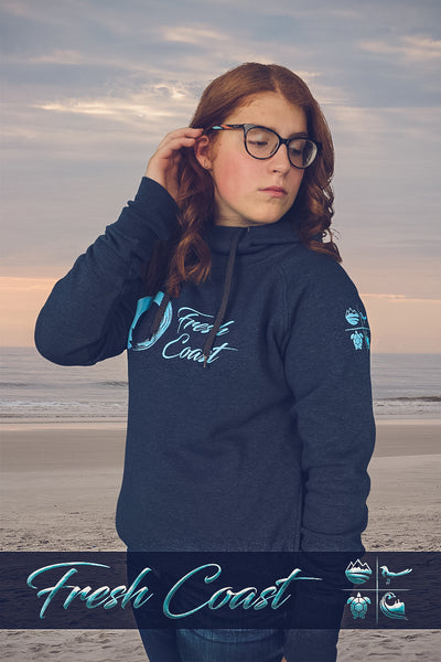 Women's Vintage Scuba Neck Logo Hoodie - Heather Navy/Cool Blue