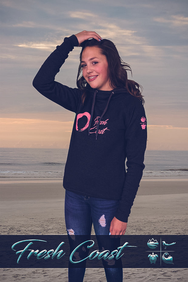 Women's Vintage Scuba Neck Logo Hoodie - Heather Charcoal/Coral