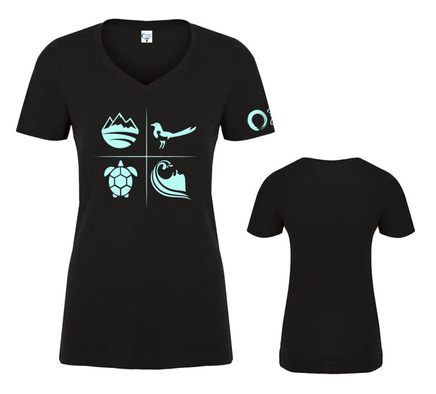 Women's Classic V-neck Graphic Tee - Black/Turquoise