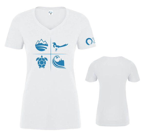 Women's Classic V-Neck Graphic Tee - White/Ocean Blue
