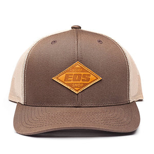 Leather Patch Snapback - Brown/tan
