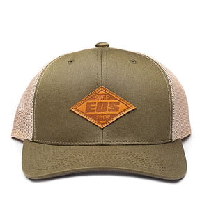 Leather Patch Snapback - Green/tan