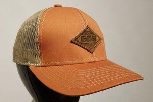 EOS Leather Patch Snapback - Orange/tan