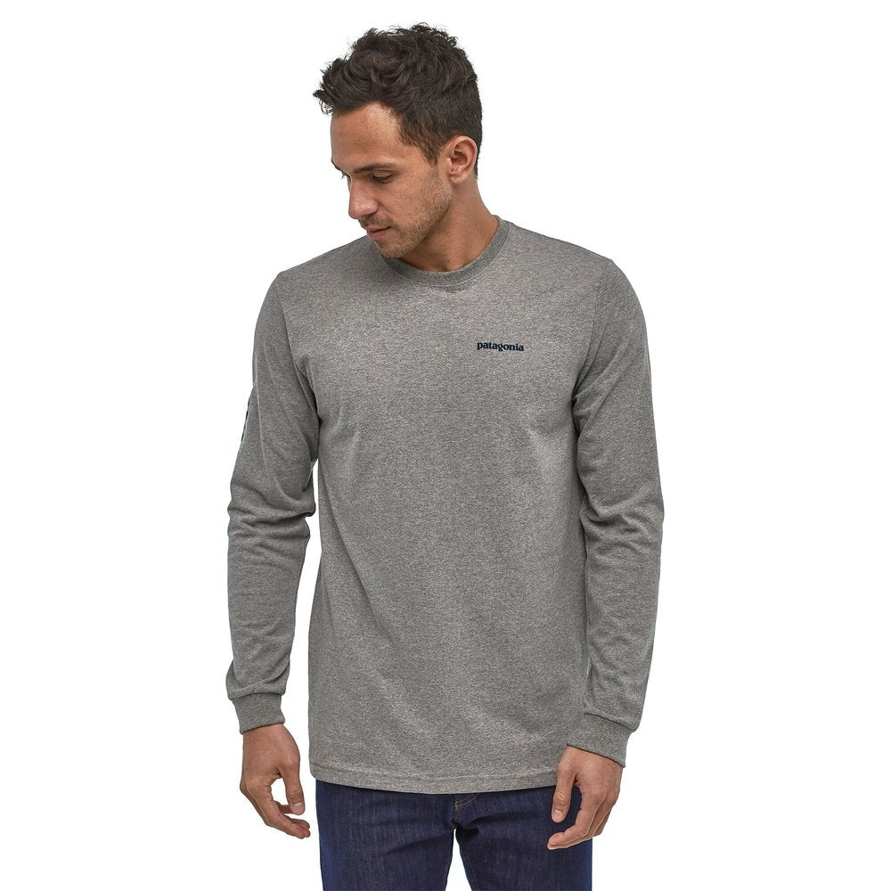 Men's Long-Sleeved Text Logo Cotton/Poly Responsibili-Tee® - Gray