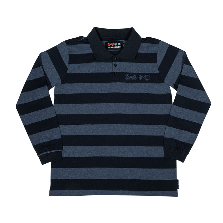Chain Cross L/S Polo T-Shirt Navy Stripe