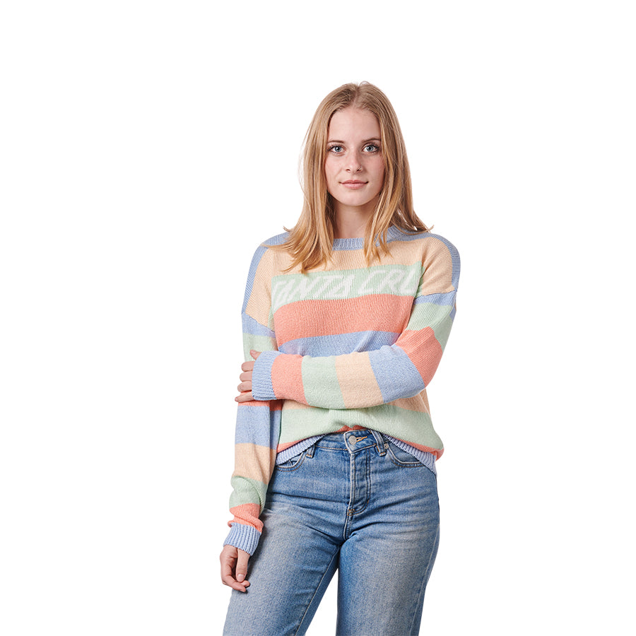 Women's Strip L/S Crew Sweater