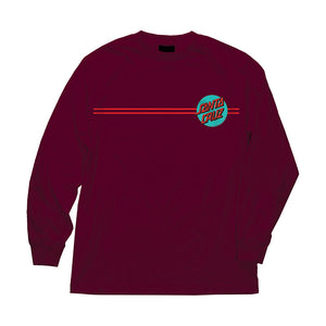 Other Dot L/S Regular T-Shirt Burgundy w/ Teal Mens Santa Cruz