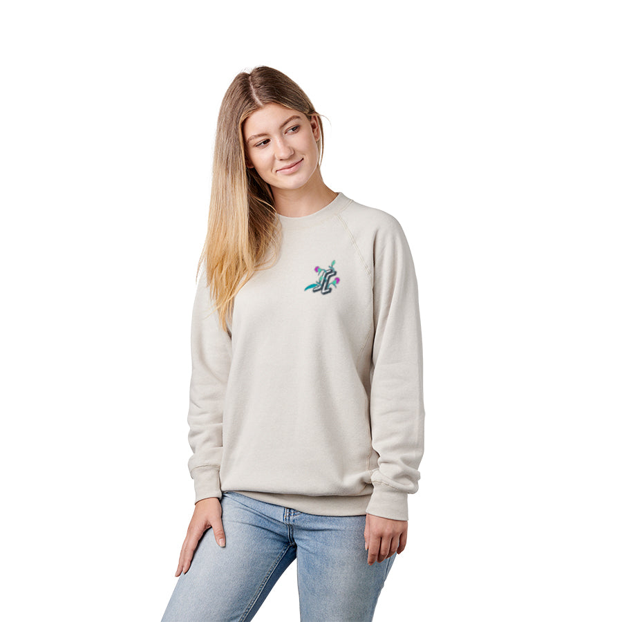 Floral Dot Crew Neck Mid Wt Boyfriend Sweatshirt Stone Heather