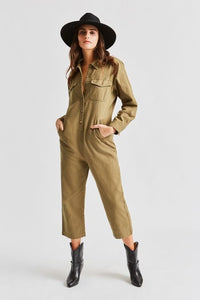 Brixton Melbourne Crop Coverall - Washed Olive
