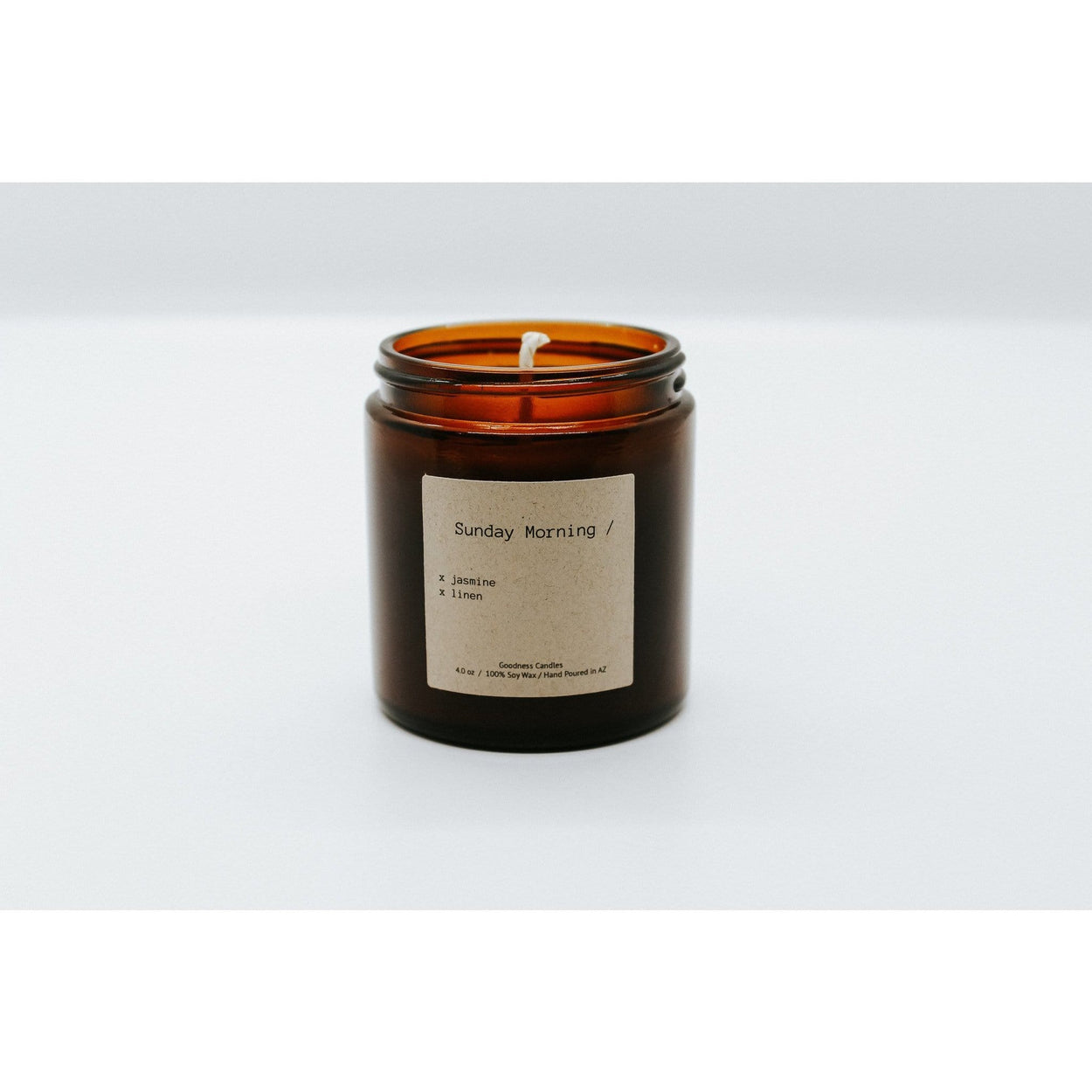 Notes of soft linen and jasmine mini Sunday Morning Goodness Candles goodnesscandles.com