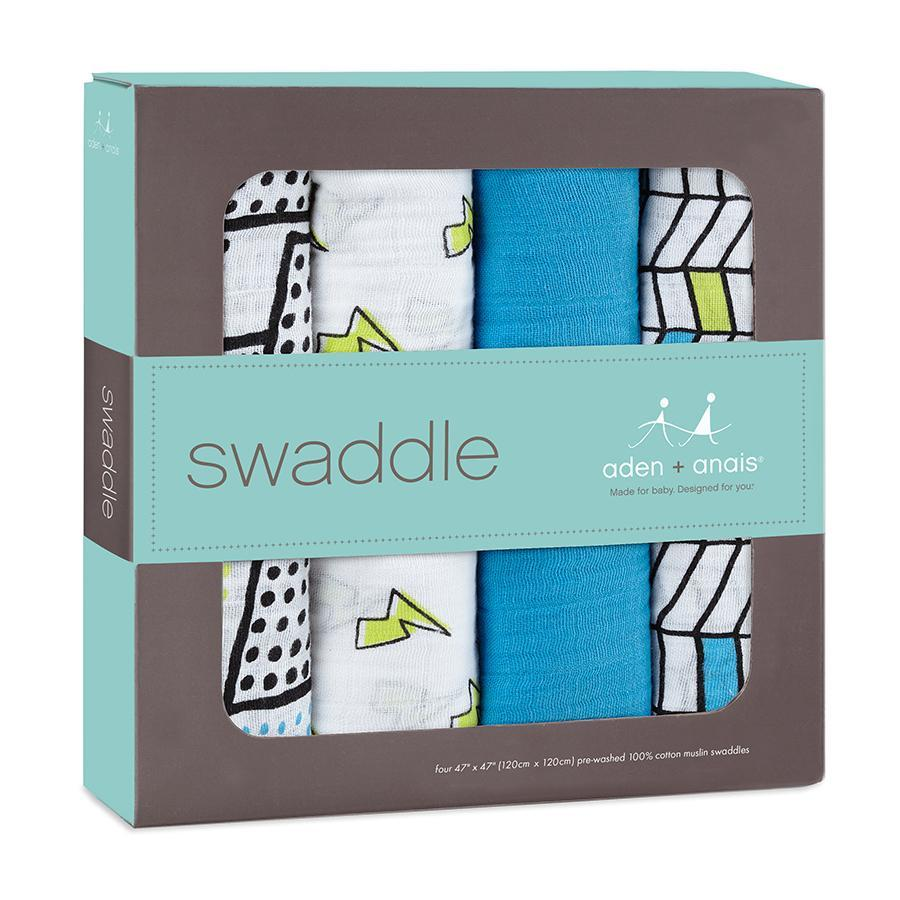 Aden and Anais - Classic Swaddle - Whizz Kid 4pk