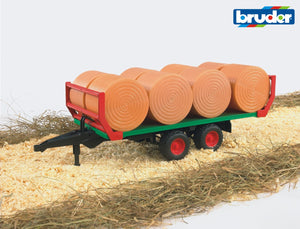 Bruder - 1:16 Bale Transport Trailer with 8 Round Bales