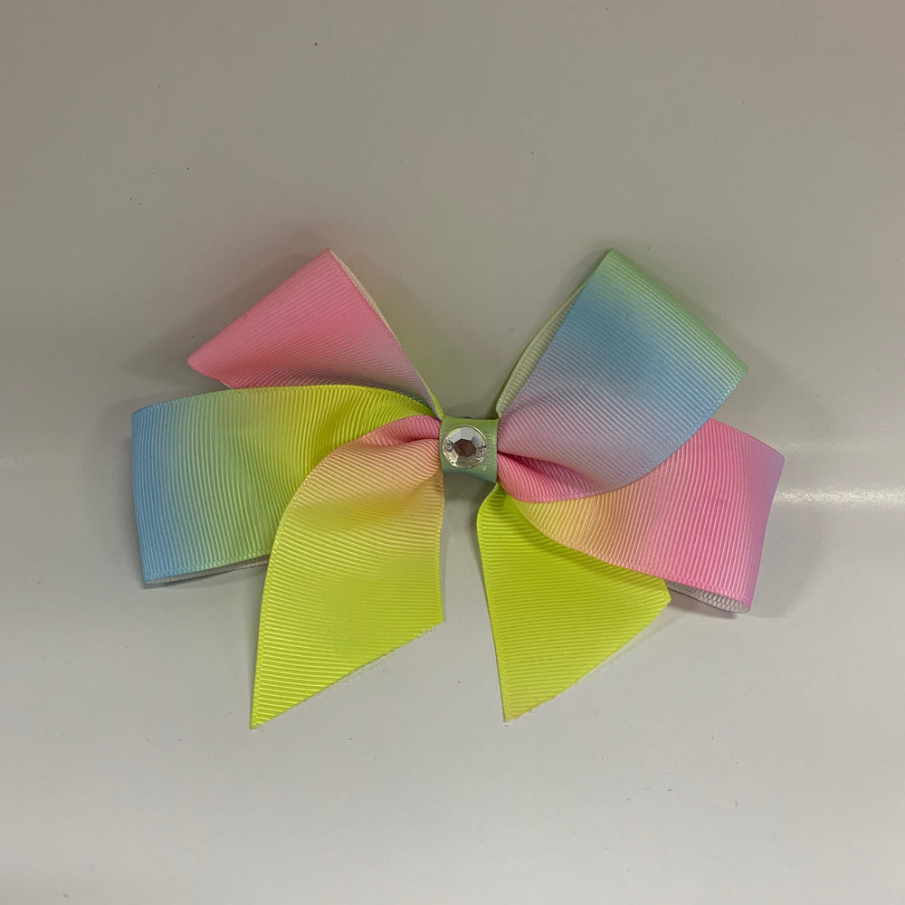 Pink Poppy - Large Bow with Gemstone